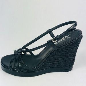 YSL Yves Saint Laurent Cassandra Wedge Sandals